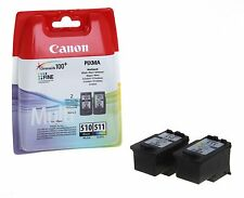 Original Twin Pack Canon 510 PG-510 Black + 511 CL-511 Colour Ink Cartridges