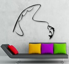 Wall Stickers Vinyl Decal Fishing Rod Fish Hobbies Recreation (ig279)