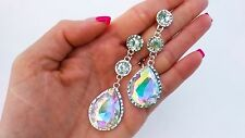 AB Crystal Earrings Long drop dangle Wedding Bride Bridal Pageant Prom Jewelry