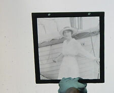 Glass Magic lantern slide Edwardian lady on ocean liner  /large slide auction