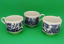 CHURCHILL Made in England Set of Three Blue Willow China Tea Coffee Cup EUC