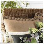 (1) J Queen Seychelles Euro Sham European Basket Weave Brown Beige Pleated Trim