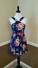 NEW Modcloth Right on Parlor Dress 3 S Blue, Red Floral w Belt City Triangles