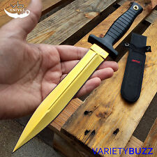 CS GO GOLD Fixed Blade HUNTSMAN DAGGER KNIFE Hunting Tactical Bowie Survival NEW