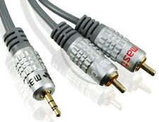 10m Subwoofer Y-Kabel RCA Cinch Stecker zu 2x Stecker METALL vergoldet