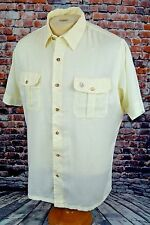 Vintage Christian Dior Men's Shirt Short Sleeve Button Down Ivory White L Large