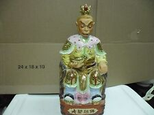 china porcelain monkey king sitting throne with armor statue figurine