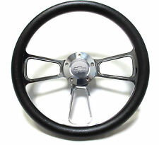 1955 -1956 Chevy Cars Black & Chrome Steering Wheel, Adapter, Full Install Kit!