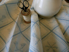 Antique French Time  Faded Neo Classic Linen Toile Fabric~ Blue White ~ 1920