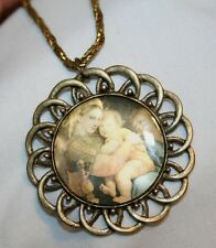 Large Loop Rimmed Mary Madonna Picture Medal Necklace