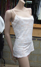 BNWT Yummie Tummie Marvellous Shaping Peach/White Lace Tank Top sz M Dual Fabric