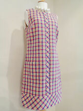 BODEN MOON PURE WOOL TWEED BEIGE PINK BLUE CHECK SHIFT DRESS SZ UK 10 R