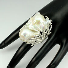 Big Rare Handmade 34x25mm Creamy White Pearl 925 Sterling Silver Ring Size 9 Nr