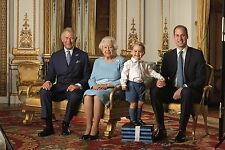 "QUEEN ELIZABETH II WITH 4 GENERATIONS OF ROYALS FRIDGE MAGNET 5"" X 3.5"""