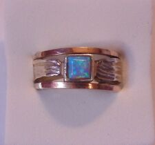 Sterling Silver 925 & 14k Solid Gold Accents Fire Opal Band Ring Size 7  28430
