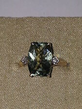 3.50 ctw Green Amethyst .02 ctw Diamond Ring 10K yellow gold Sz 8.75