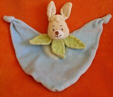 Beige Blue Rabbit Baby Comforter Blankie Doudou ~ Green Leaves Neck