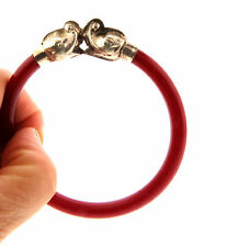 Vintage Red Plastic Silver Double Dragon Bangle Bracelet 7mm 8""