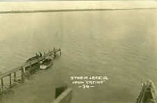 Storm Lake, IA  Pier and Storm Lake from Casino  1915 RPPC