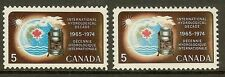 Canada 1968 Hydrological Decade Paper Variety - Sc 481 & 481i Hibrite (HB) `MNH