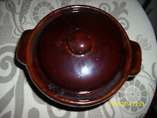 VINTAGE BROWN SERVING DISH POTTERY SMALL DISH WITH LID EUC