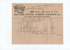 John Ringen & Co. 1878 receipt: tinware stoves washing machines Schaaf St. Louis