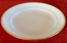 grand plat rond porcelaine de Paris blanc et or filet bleu ancien 19 eme