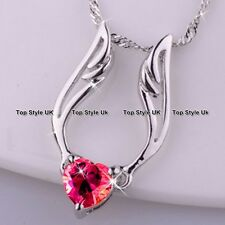 Red Crystal Heart Necklace Love Xmas Present Gifts For Her Wife Mum Women GF D4