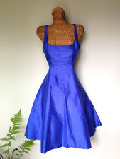 Ralph Lauren Cobat Royal Blue Taffeta Silk Shantung Fit Flare Cocktail Dress 6 S