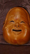 "ANTIQUE  19C CHINESE  WALNUT WOOD HAND CARVED "" BUDDHA SMILING FACE"" MASK"