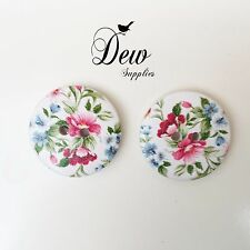 10 x 25mm printed floral Buttons, wooden 2 hole button Sew Sewing Scrapbooking