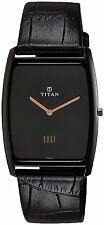 TITAN EDGE BLACK DIAL LEATHER BELT WATCH RECTANGLE  SLIM MENS WATCH - 1596NL01