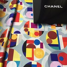 NEW AUTHENTIC CHANEL COLORBLOCK LOGO PRINT XL-SIZE MULTICOLOR 100% SILK SCARF