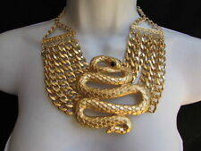 New Women Gold Metal Chains Big Fashion Indian Snake Wide Necklace + Earring Set