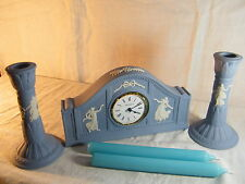"Wedgwood Blue Jasperware "" Dancing Hours"" Mantle Clock & Matching Candlesticks !"