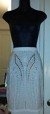 NWT BeBe $149 SOLD OUT Heavy Gold Embellished Cream Skirt sz P/S