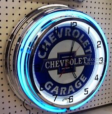 "18"" CHEVROLET Bowtie GARAGE Sign Double Neon Clock Chevelle Camaro Chevy Nova"
