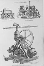 OLD ANTIQUE PRINT STEAM FIRE ENGINES c1880's FLOATIN HAND HELD FIRE BRIGADE