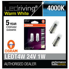 Osram 24V LED 6000K Warm White T4W (249) 12V 1W Led Bulbs Long Life 3924WW-02B