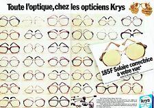 PUBLICITE ADVERTISING 027  1987  les Opticiens Krys (2p) montures de lunettes