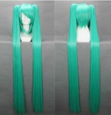 Vocaloid-Hatsune Miku Turquoise Anime Cosplay Wig +2Clip On Ponytail 120cm #042E