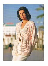 """Knitting Pattern Ladies Cable Cardigan *COPY* PATTERN ONLY 30-44"""" DK #si976"""