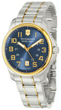 Swiss Army Officer's Two Tone Steel Mens Watch Blue Dial Calendar 241363