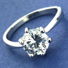 Classic fashion lady 14k white gold plated 1 ct crystal ring size 6