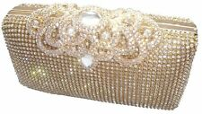 Bling Gold Diamante Diamond Crystal Evening bag Clutch Purse Party Wedding Prom