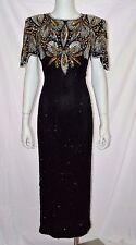 Vtg Black Silver Silk Sequin Evening Party Cocktail Maxi Dress Gown sz Medium M