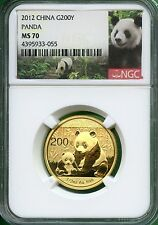 CHINA  2012  PANDA  1/2 OZ  GOLD  200 YUAN   NGC MS 70