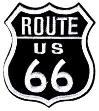ROUTE US 66 - HIGHWAY - BIKER - ROAD SIGN - HISTORIC - EMBLEM - IRON ON PATCH