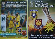 off. VIP Programme & Flyer UEL 2016/17 NK Domzale - West Ham United