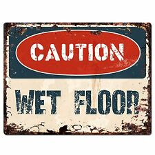 PP0643 Vintage CAUTION Wet Floor Plate Chic Sign Home Room Store Decor Gift